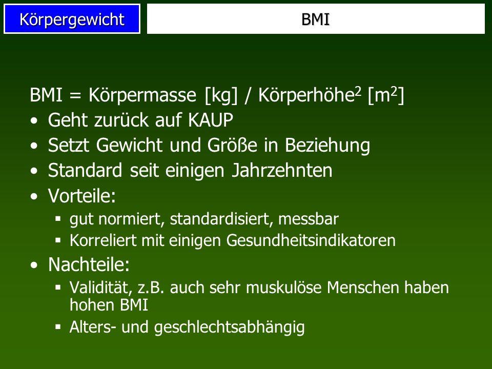 BMI = Körpermasse [kg] / Körperhöhe2 [m2] Geht zurück auf KAUP